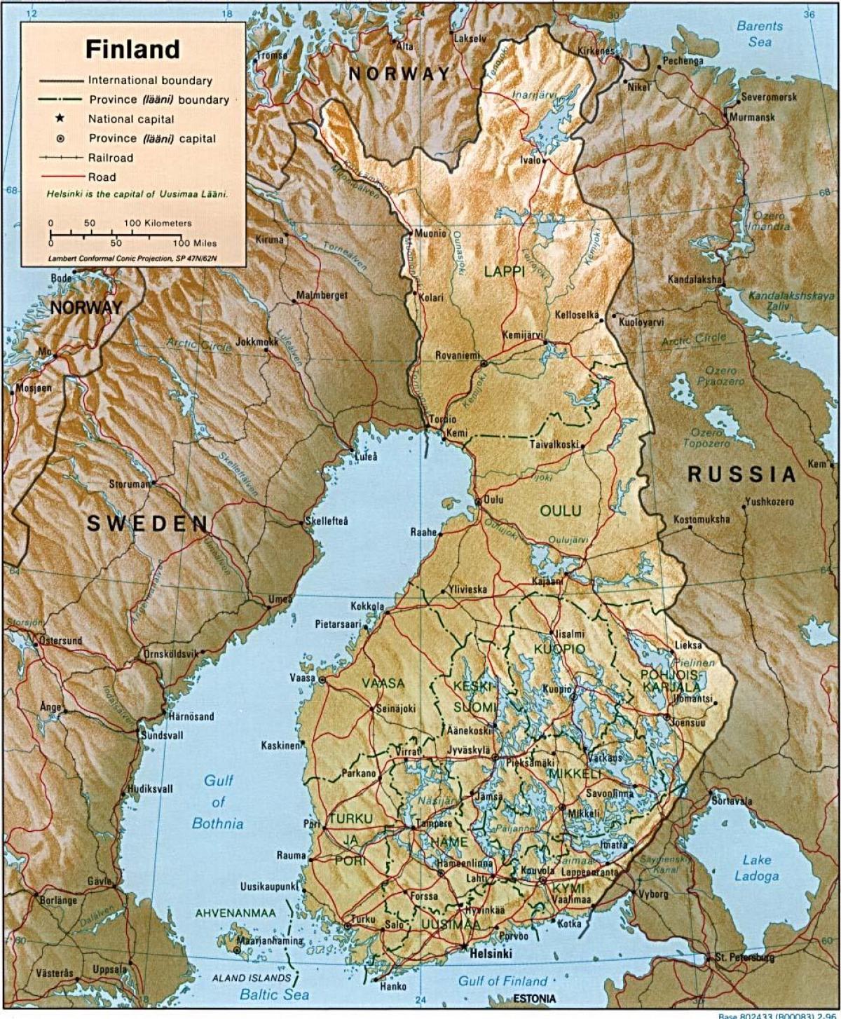 Finland Topografisk Karta Karta Over Finland Topografiska Norra